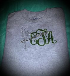 What a way to stand out!! This listing is for one Glitter Monogrammed Shirt of Your Design Choice. The heat transfer is applied with a professional grade heat press. Please include in Seller's Notes: