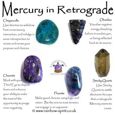 Rainbow Spirit crystal shop - My crystal healing poster with suggestions of stones that support us while Mercury is in retrograde Crystal Uses, Crystal Healing Stones, Crystal Shop, Crystal Magic, Crystal Grid, Healing Rocks, Chakra Crystals, Crystals And Gemstones, Stones And Crystals