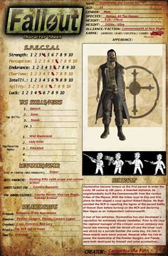 My Fallout Character Sheet by on DeviantArt Fallout Tips, Fallout Lore, Fallout Facts, Fallout Funny, Character Sheet Template, Fallout Concept Art, Skyrim Game, Fallout Cosplay, Game Info