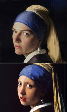 """""""The Girl With The Pearl Earring"""" remake by Sybille de Chavagnac"""