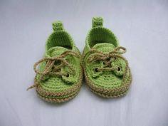 Zapatillas de bebé verde zapatos de bebé del ganchillo