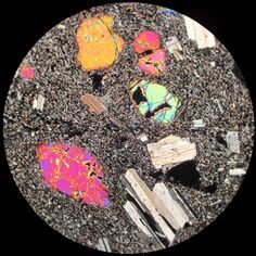 Basalt in thin section under crossed polars