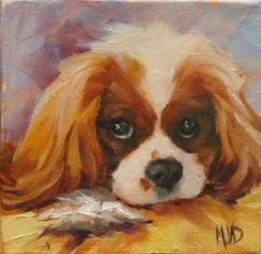 """Daily Paintworks - """"Pure Sugar"""" - Original Fine Art for Sale - © Mary Van Deman Cavalier King Charles Dog, King Charles Spaniel, Watercolor Paintings Of Animals, Animal Paintings, Bunny Art, Dog Illustration, Dog Portraits, Dog Gifts, Dog Art"""