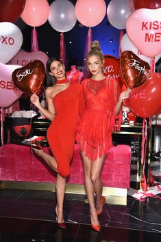 Models Sara Sampaio (L) and Josephine Skriver pose as Victoria's Secret Angels Josephine Skriver, Sara Sampaio and Taylor Hill share their hottest Valentine's Day gift picks at Victoria's Secret at 640 5th Avenue on February 7, 2017 in New York City.