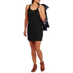 Faded Glory Women's Racerback Casual Tank Dress, Size: Large, Black