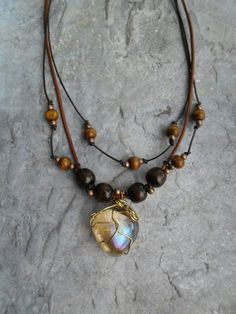 Homemade necklace / brown leather straps and wooden beads by Liesbeth Visscher at JHFWBeadsAndFindings on #Etsy #jewelry #Jewelery #jewellery