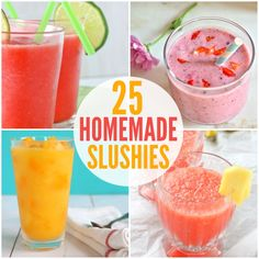 Kids slushies: recipes- not exactly healthy but hey, everything in moderation. It's summer!
