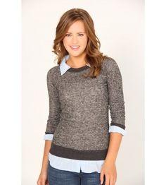 Derek Heart Long Sleeve Sweater w/ Chambray Layer - Sweaters - Juniors #VFOFallFashion