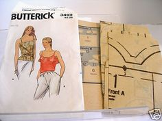 Free Shipping!   Vintage 1970s Sewing Pattern Butterick #3492 Womens Halter Top Camisole Size 12
