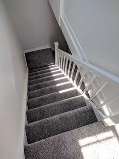 Dark grey carpet install on st. Dark grey carpet install on stairs and landing. Dark Grey Carpet Bedroom, Grey Stair Carpet, Carpet Staircase, Hallway Carpet, Dark Carpet, Bedroom Carpet, Living Room Carpet, Beige Carpet, Buy Carpet