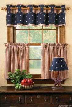 What a fun patriotic window. Valance and cafe curtains. Country Curtains, Kitchen Curtains, Drapes Curtains, Valances, Brown Curtains, Patterned Curtains, Elegant Curtains, Vintage Curtains, Yellow Curtains