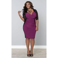 Kiyonna Valentina Illusion Dress-Sale ($76) ❤ liked on Polyvore featuring plus size fashion, plus size clothing, plus size dresses, plus size, bodycon dress, black dress, black body con dress, black lace dress and sexy lace dresses