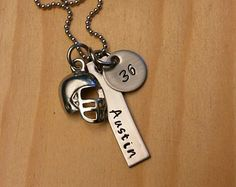 Hand Stamped Personalized football mom necklace by MeAndMySweetPea