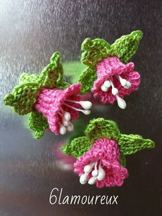 3 PINK Handmade Crochet Cotton Flowers APPLIQUE EMBELLISHMENT Card Craft | eBay