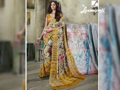 Where to find the multicolor georgette digital floral printed sarees in India?  provides the multicolor georgette digital floral printed sarees along with unstitched ocher yellow blouse piece. Laxmipati Sarees, Catalog Online, Yellow Blouse, Printed Sarees, Buy Prints, Occasion Wear, Daily Wear, Bridal Collection, Casual Wear