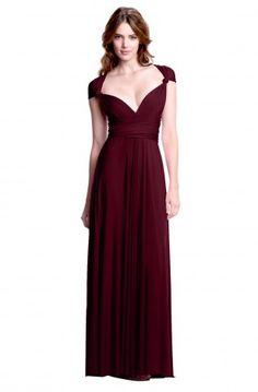 Sakura Burgundy Wine Maxi Convertible Dress - Shop By Color Tanay $168