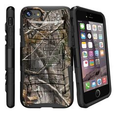 Apple iPhone 7 4.7 Case CLIP ARMOR, Hard Rugged Shell Holster Kickstand - Hunters Camouflage