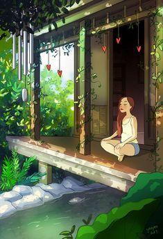 Living Alone, Joy Of Living, Christopher Mccandless, Alone Art, Illustrator, Illustration Mode, Pop Illustrations, Anime Scenery, Anime Art Girl