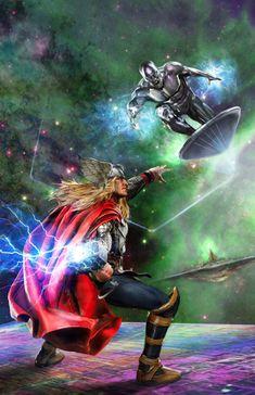 Thor and Silver Surfer Marvel Comics Art, Marvel Comic Universe, Comics Universe, Marvel Heroes, Marvel Cinematic Universe, Marvel Avengers, Captain Marvel, Punisher Comics, Surfer D'argent