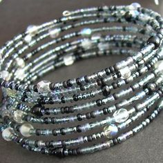 Witches' Brew Memory Wire Bracelet Black Grey by cindylouwho2