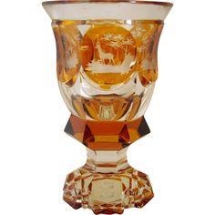 "Antique Bohemian Crystal Amber ""DRAGEOIR""Souvenir de Bade""   forest animals   engraving with the wheel second half of century (1850's-1899's) 800 Euros"