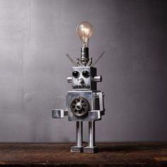 Assemblage Art Robot Lamp    I think this is adorable, with character