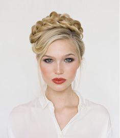 This braided updo is perfect for a holiday party.