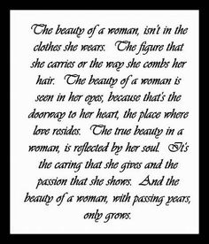 The beauty of a woman...