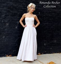 White Cotton Strapless Wedding Gown Made to Order by AmandaArcher - cotton eyelet skirt