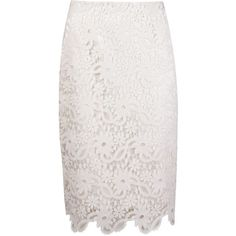 Martha Medeiros Guipure Lace Pencil Skirt ($1,909) ❤ liked on Polyvore featuring skirts, white, lace skirt, white skirt, pencil skirt, white scalloped skirt and white knee length skirt