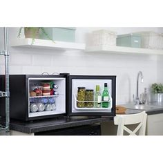 Mini Table Top Fridge Portable Bedroom Compact Black Electric Small Food Cooler