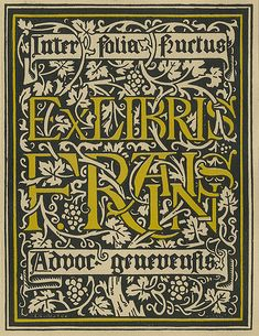 """Bookplate of F Rainis  Created by E.G. Reuter  Features the motto 'Inter folia frucus advor geneuenfis' and depicts a backgroumd of a grapevine design. Signed at bottom """"E.G. Reuter."""""""