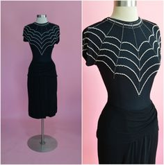 "VICKY TIEL 1980's does 1940's Vintage Spiderweb Beaded Jersey Draped Cocktail Dress 27""-28"" Waist"