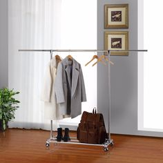 Lifewit Adjustable Garment Rack Rolling Single Rod Clothes Coat R With Shelf Stainless Steel