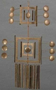 sculpture, Ecuador, Oswaldo Guayasamin (Ecuador, 1919 to 1999), hanging mobile sculpture of brass and copper, Quito, Ecuador; the geometric-form devices rotating on a central axis with bar stock pendant, signed Taller Guayasamin.  Note: Oswaldo Guayasamin was a master painter and sculptor. He is a listed artist with an auction history.