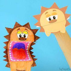 Printable Hedgehog Puppets - Easy Peasy and Fun Preschool Learning Activities, Autumn Activities, Toddler Activities, Preschool Activities, Kids Learning, Activities For Kids, Crafts For 3 Year Olds, Crafts For Kids To Make, Art For Kids