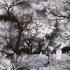 grey 'Graveyard' Gothic Halloween fabric Timeless Treasures USA 2
