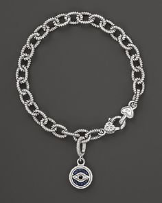 Judith Ripka Evil Eye Charm Link Bracelet with White, Black and Blue Sapphires | Bloomingdale's