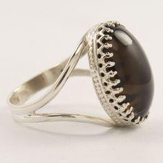 Handcrafted Ring 7.75 Sterling Silver 925 Genuine Smoky Quartz Oval Shape Stone Smoky Quartz Ring, Smokey Topaz, Chalcedony Stone, Emerald Cut Rings, Silver Jewellery Indian, Oval Shape, Handcrafted Jewelry, Sterling Silver Jewelry, Gemstone Rings