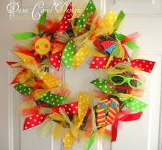 summer ribbon wreath, Good price, grapevine or similar wreath, variety of ribbon, variety of tulle by the roll, small sunglasses, sun cutout, small flipflops or flipflop craft ornament