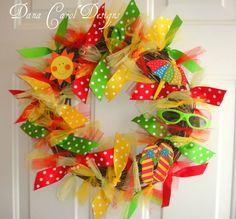 Summer Fun Wreath by DanaCarolDesigns on Etsy Wreath Crafts, Diy Wreath, Burlap Wreaths, Wreath Ideas, Deco Mesh Wreaths, Door Wreaths, Ribbon Wreaths, Floral Wreaths, Summer Crafts