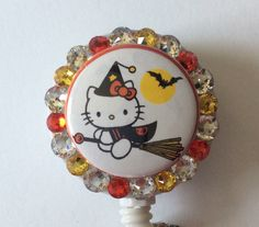 Cat Halloween Decorative Badge/ID Holder with Charms/Beads by Lindasbadgeboutique on Etsy