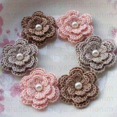 6 Crochet Flowers With Pearls In Ginger Snap, Lt Pink, Carmandy on Etsy, Crochet Puff Flower, Crochet Leaves, Crochet Motifs, Crochet Flower Patterns, Love Crochet, Irish Crochet, Baby Knitting Patterns, Crochet Roses, Yarn Flowers
