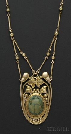 Arts & Crafts 14kt Gold and Faience Scarab Necklace, F.G. Hale,