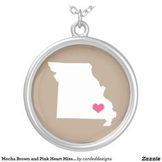 Mocha Brown and Pink Heart Missouri Home State Round Pendant Necklace