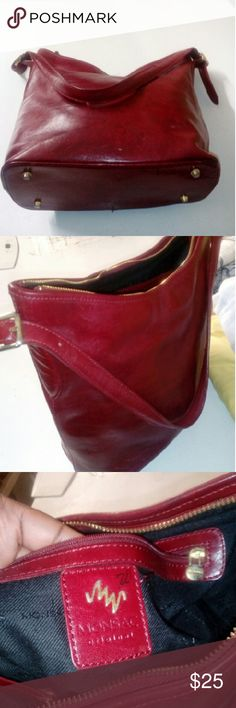 Monsac red leather bag Dark red, used but in good condition, 1 thick adjustable shoulder strap with buckles on both sides. Almost bucket shape, zipper, stands under,original,good strong leather ,black lining, vintage, simple, 1 pocket inside with key ring,gold hardware, monsac Bags Shoulder Bags