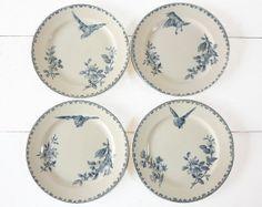 "Faience Blue Transferware Dessert Plates by Sarreguemines - France -  pattern "" Favori """