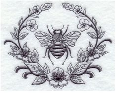 Embroidered 28x28 Flour Sack Kitchen Towel BLACKWORK BEE BUTTERFLY