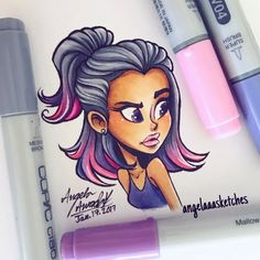 Colored my little sketch #art #aaart #illustration #sketch #artistsoninstagram #characterdesign #character #dailydrawing #drawing #copics #copicmarkers #markerart #cute #kawaii #ombre #ombrehair #pink #pinkombre #purpleandpink #pinkhair #draw...