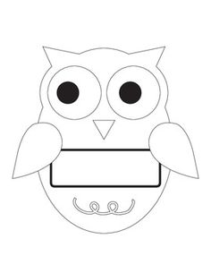 Owl Line Art with Name Plate